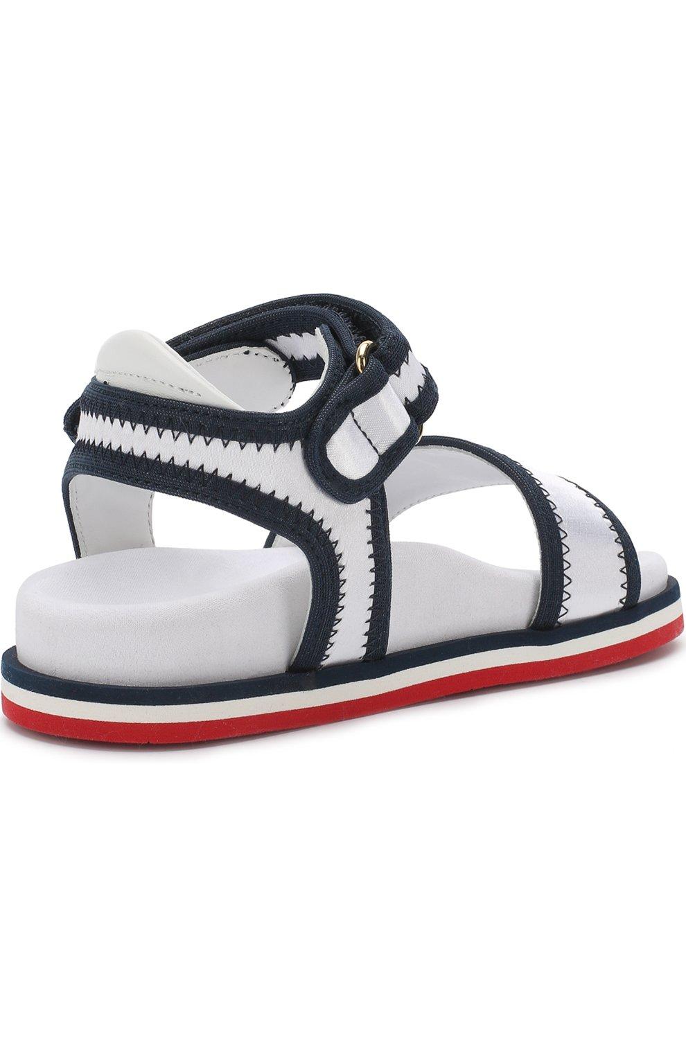 Детские текстильные сандалии с застежками велькро MONCLER ENFANT белого цвета, арт. D1-954-00474-00-019ED | Фото 3