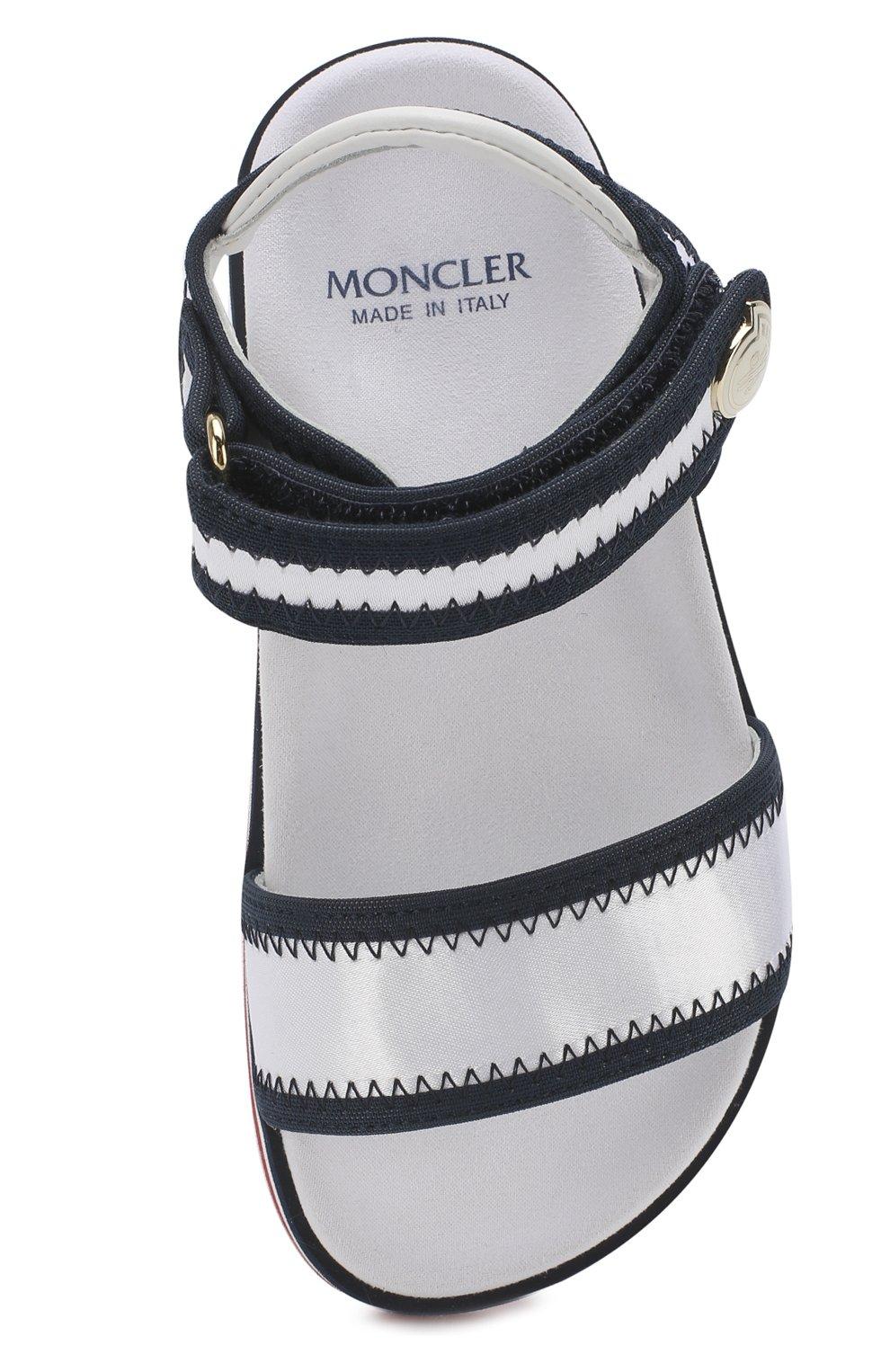 Детские текстильные сандалии с застежками велькро MONCLER ENFANT белого цвета, арт. D1-954-00474-00-019ED | Фото 4