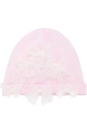 Детского шапка с кружевной отделкой и бантами ALETTA розового цвета, арт. RB88375/1M-18M | Фото 1