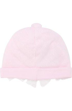 Детского шапка с кружевной отделкой и бантами ALETTA розового цвета, арт. RB88375/1M-18M | Фото 2