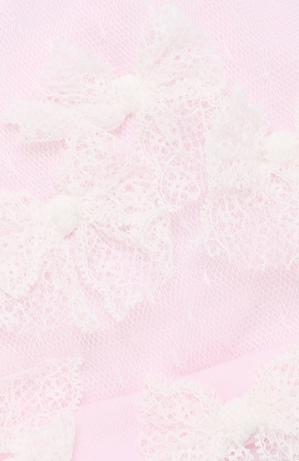 Детского шапка с кружевной отделкой и бантами ALETTA розового цвета, арт. RB88375/1M-18M | Фото 3