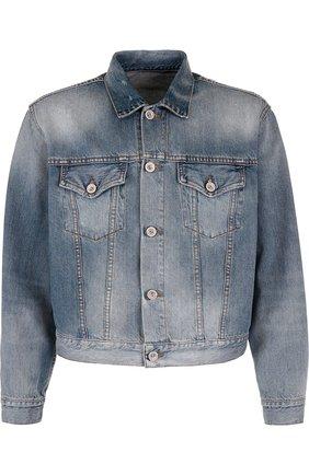 Джинсовая куртка на пуговицах с принтом   Фото №1