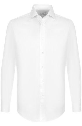 Хлопковая сорочка с воротником кент Bagutta белая | Фото №1