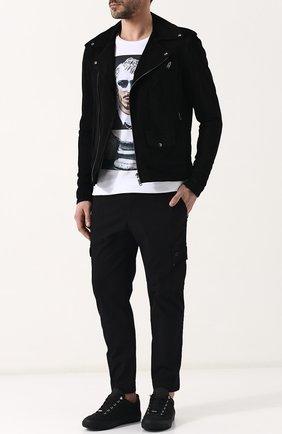 Замшевая куртка на молнии Salvatore Santoro черная | Фото №1