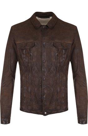 Кожаная куртка на кнопках Salvatore Santoro темно-коричневая | Фото №1