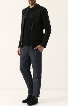 Однобортный кожаный пиджак Salvatore Santoro черный | Фото №1