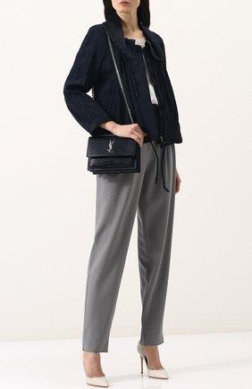 Однотонная куртка из вискозы с отложным воротником | Фото №2