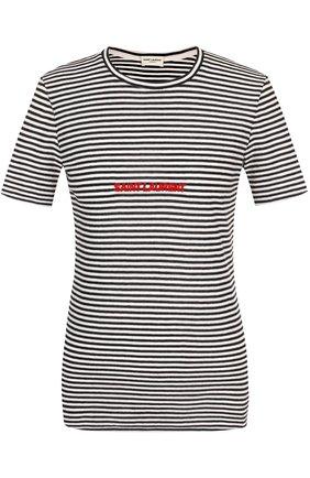 Приталенная хлопковая футболка в полоску | Фото №1