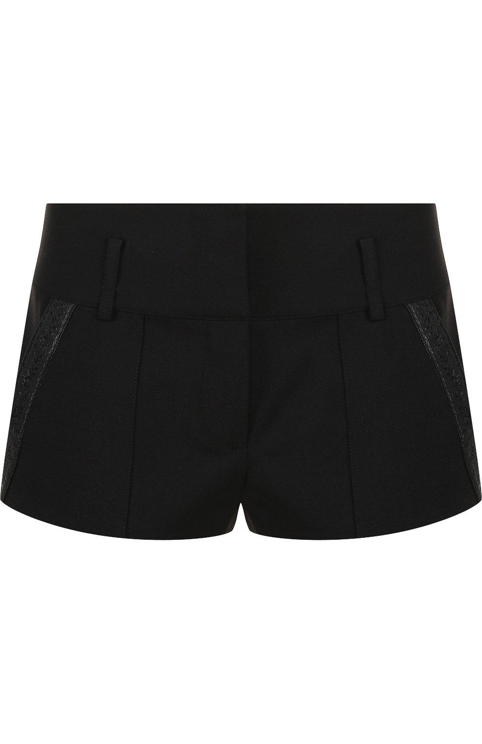 Женские однотонные шерстяные мини-шорты SAINT LAURENT черного цвета, арт. 517846/Y239W | Фото 1