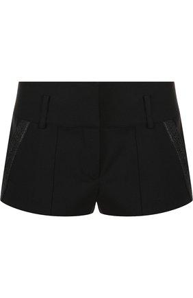 Женские однотонные шерстяные мини-шорты SAINT LAURENT черного цвета, арт. 517846/Y239W   Фото 1