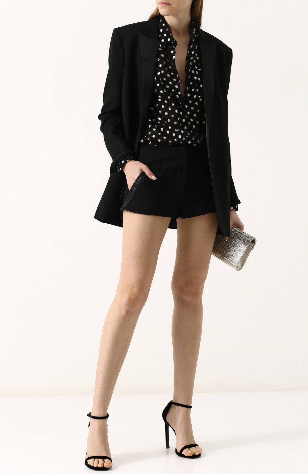 Женские однотонные шерстяные мини-шорты SAINT LAURENT черного цвета, арт. 517846/Y239W | Фото 2