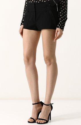 Женские однотонные шерстяные мини-шорты SAINT LAURENT черного цвета, арт. 517846/Y239W | Фото 3