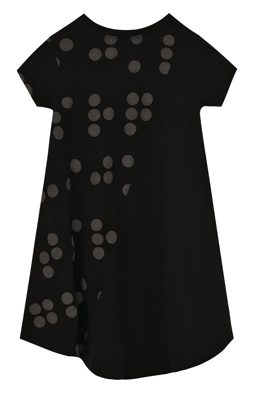 Детское хлопковое платье свободного кроя с принтом NUNUNU черного цвета, арт. NU1785A | Фото 2