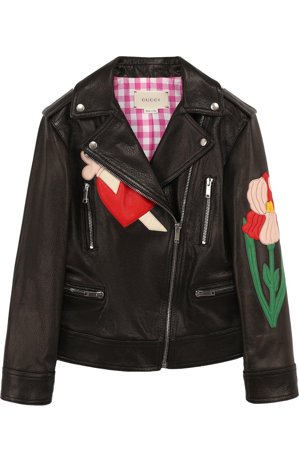 Детская кожаная куртка с косой молнией и аппликациями GUCCI черного цвета, арт. 502069/XG590   Фото 1