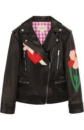 Кожаная куртка с косой молнией и аппликациями | Фото №1