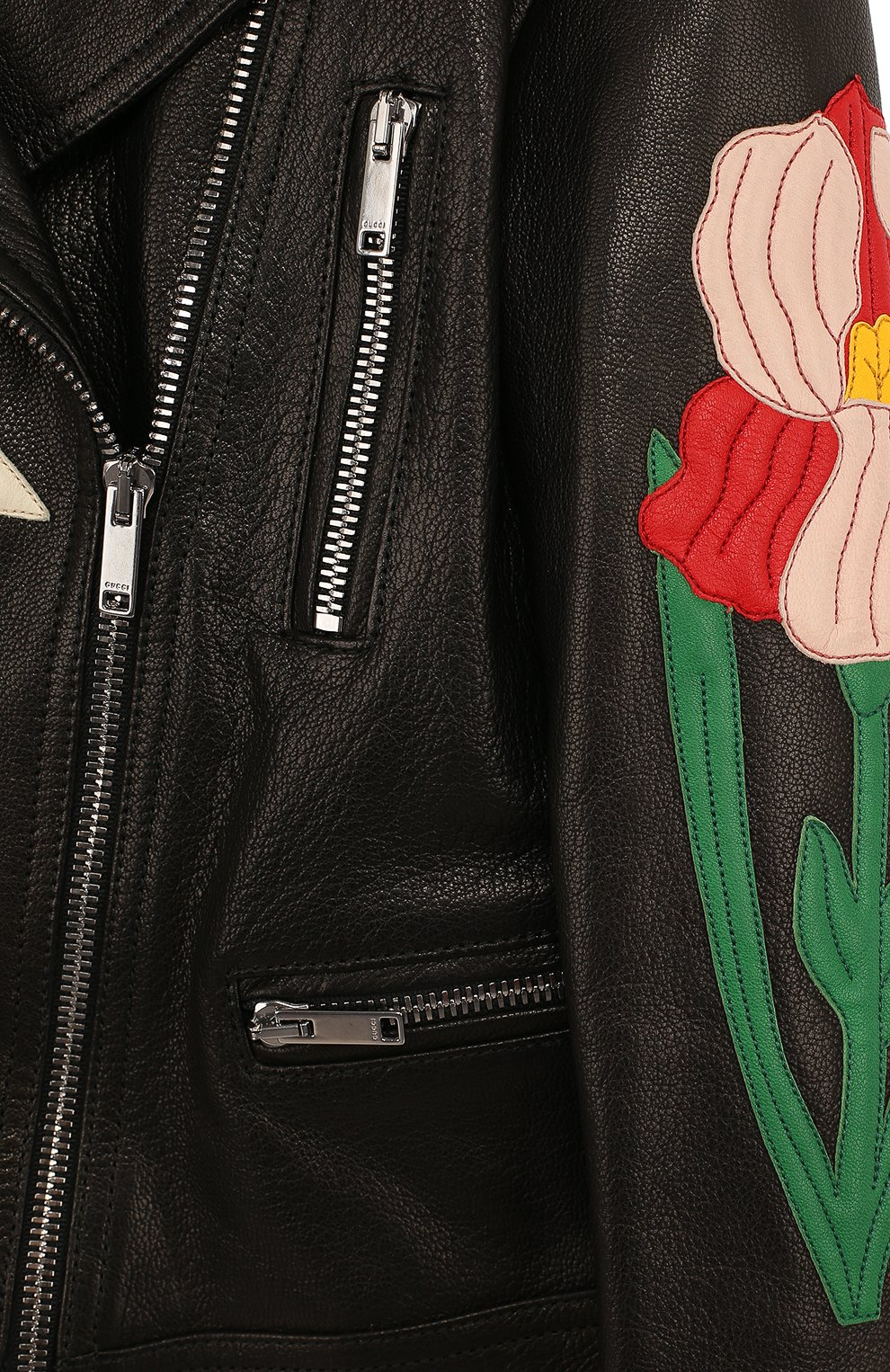 Детская кожаная куртка с косой молнией и аппликациями GUCCI черного цвета, арт. 502069/XG590   Фото 3