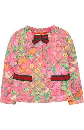 Детская стеганая куртка с принтом и круглым вырезом GUCCI розового цвета, арт. 503518/XBD53 | Фото 1