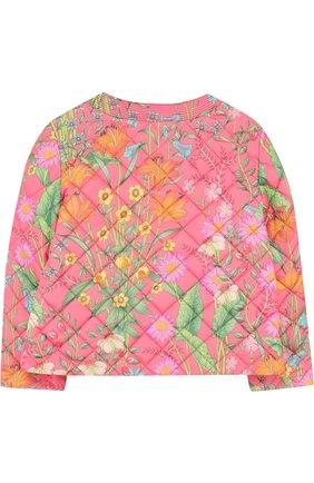 Детская стеганая куртка с принтом и круглым вырезом GUCCI розового цвета, арт. 503518/XBD53 | Фото 2