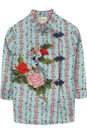 Детское шелковая блуза с принтом и контрастной вышивкой GUCCI голубого цвета, арт. 503682/XBD68 | Фото 1