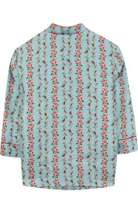 Детское шелковая блуза с принтом и контрастной вышивкой GUCCI голубого цвета, арт. 503682/XBD68 | Фото 2