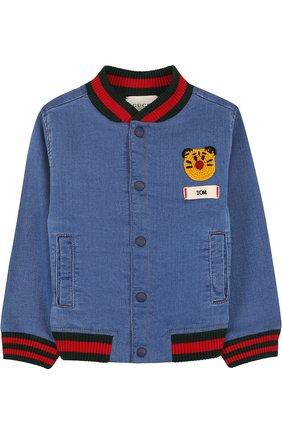 Детского джинсовый бомбер с вышивкой GUCCI синего цвета, арт. 503373/X9P42 | Фото 1