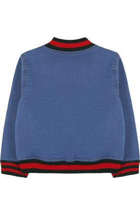 Детского джинсовый бомбер с вышивкой GUCCI синего цвета, арт. 503373/X9P42 | Фото 2