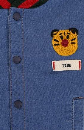 Детского джинсовый бомбер с вышивкой GUCCI синего цвета, арт. 503373/X9P42 | Фото 3