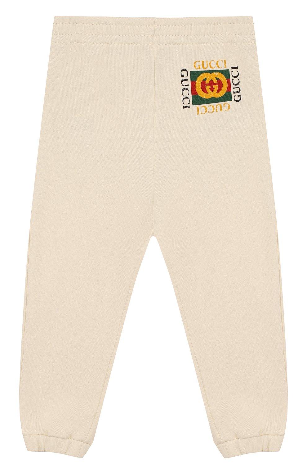 Детские хлопковые джоггеры с логотипом бренда GUCCI белого цвета, арт. 503867/X3L00   Фото 1