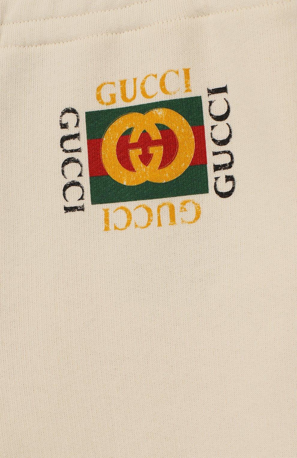 Детские хлопковые джоггеры с логотипом бренда GUCCI белого цвета, арт. 503867/X3L00   Фото 3