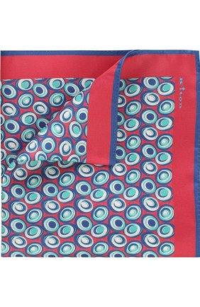 Мужской шелковый платок с принтом KITON розового цвета, арт. UP0CH/7P76   Фото 1