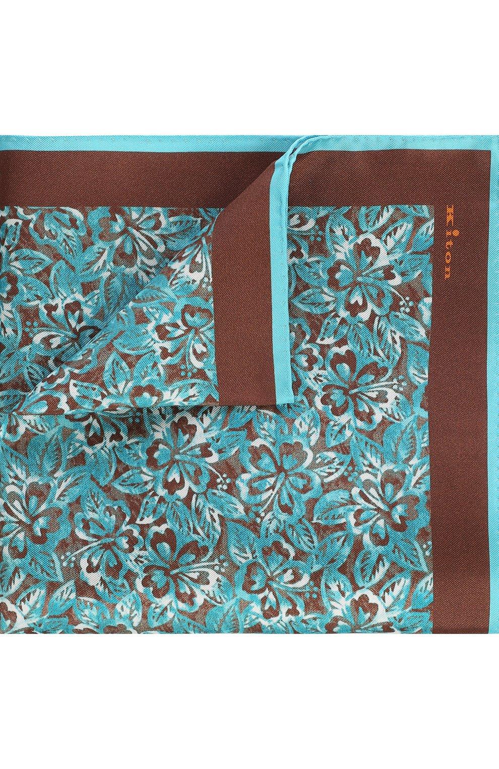 Мужской шелковый платок с принтом KITON коричневого цвета, арт. UP0CH/7P76 | Фото 1
