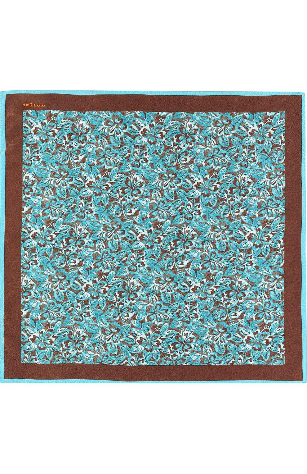 Мужской шелковый платок с принтом KITON коричневого цвета, арт. UP0CH/7P76 | Фото 2