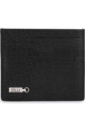 Мужской футляр для кредитных карт из кожи крокодила ZILLI черного цвета, арт. MJL-0WC02-1010M/0001 | Фото 1