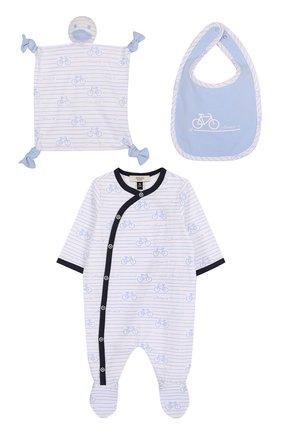 Хлопковый комплект из пижамы с нагрудником и салфеткой   Фото №1