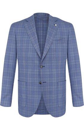 Однобортный шерстяной пиджак L.B.M. 1911 голубой | Фото №1