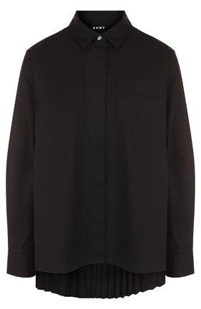 Женская однотонная хлопковая блуза свободного кроя DKNY, цвет черный, арт. P8AM0565 в ЦУМ | Фото №1