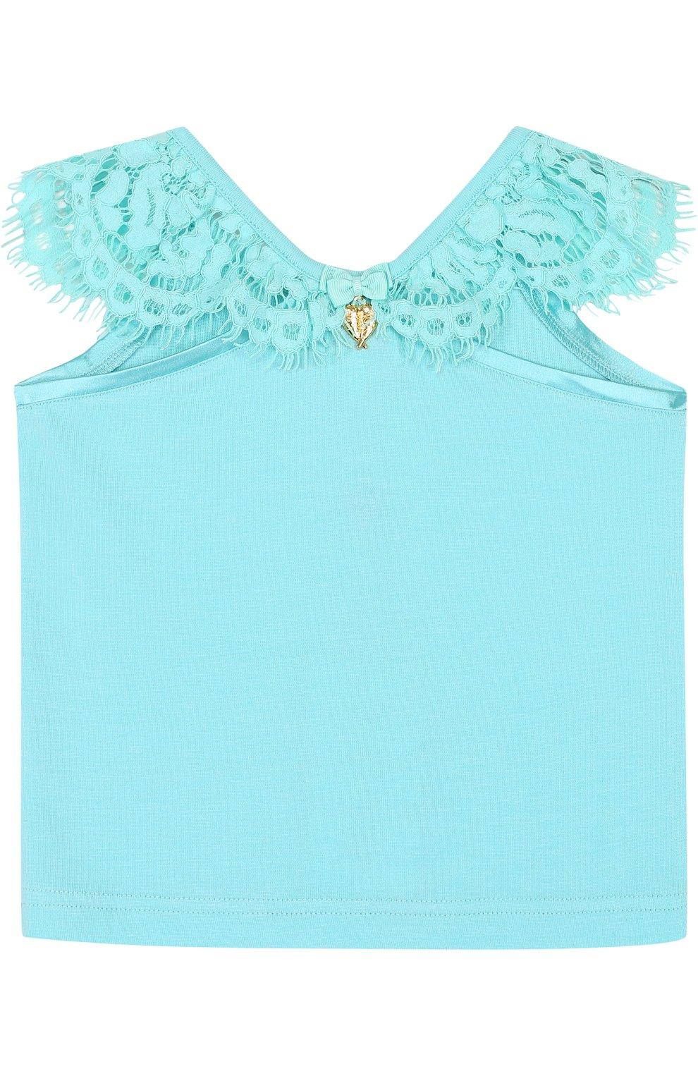 Детский топ джерси с кружевной отделкой и открытыми плечами ANGEL'S FACE голубого цвета, арт. LUCILLE/2-7 | Фото 2