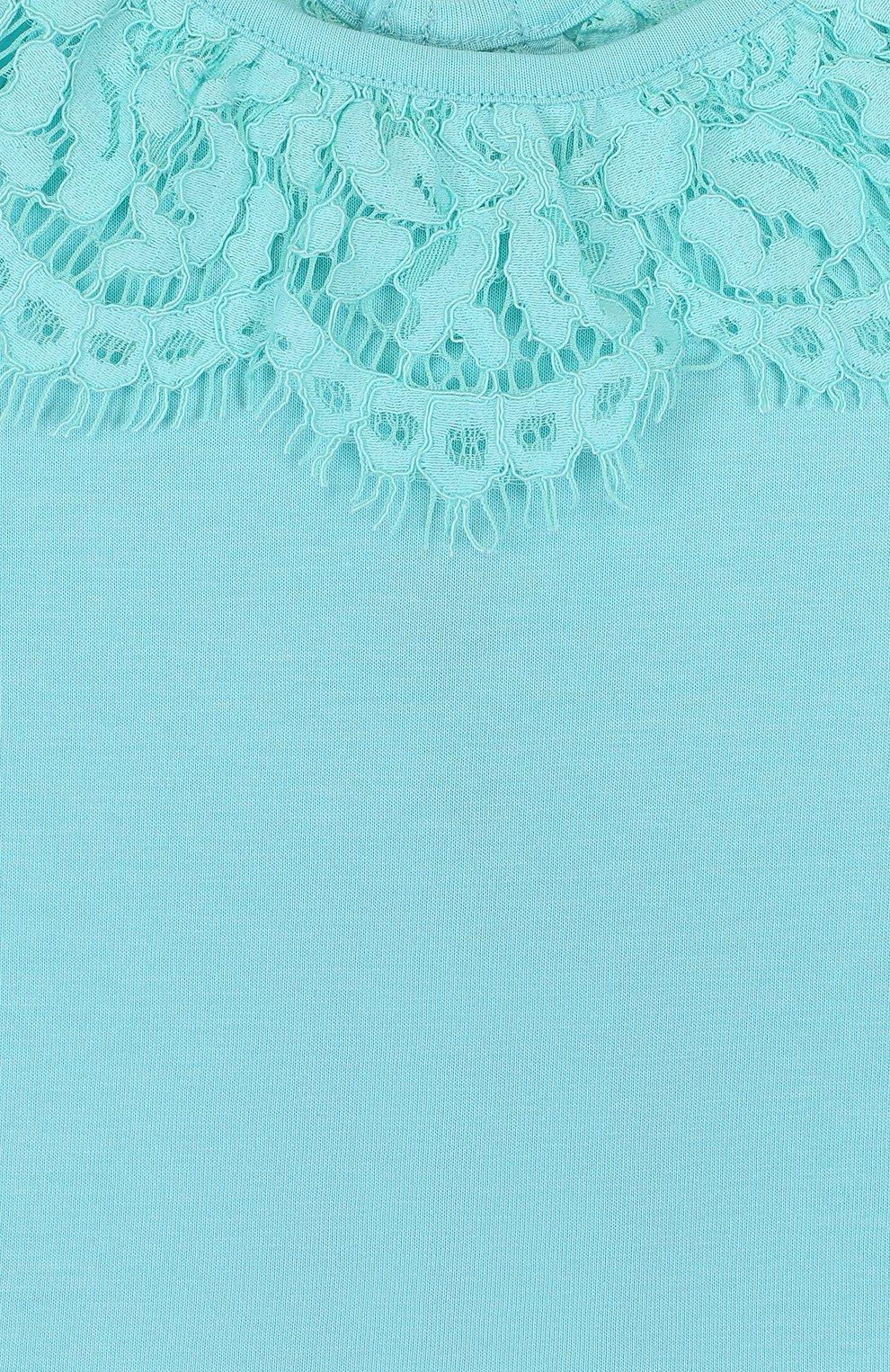 Детский топ джерси с кружевной отделкой и открытыми плечами ANGEL'S FACE голубого цвета, арт. LUCILLE/2-7 | Фото 3