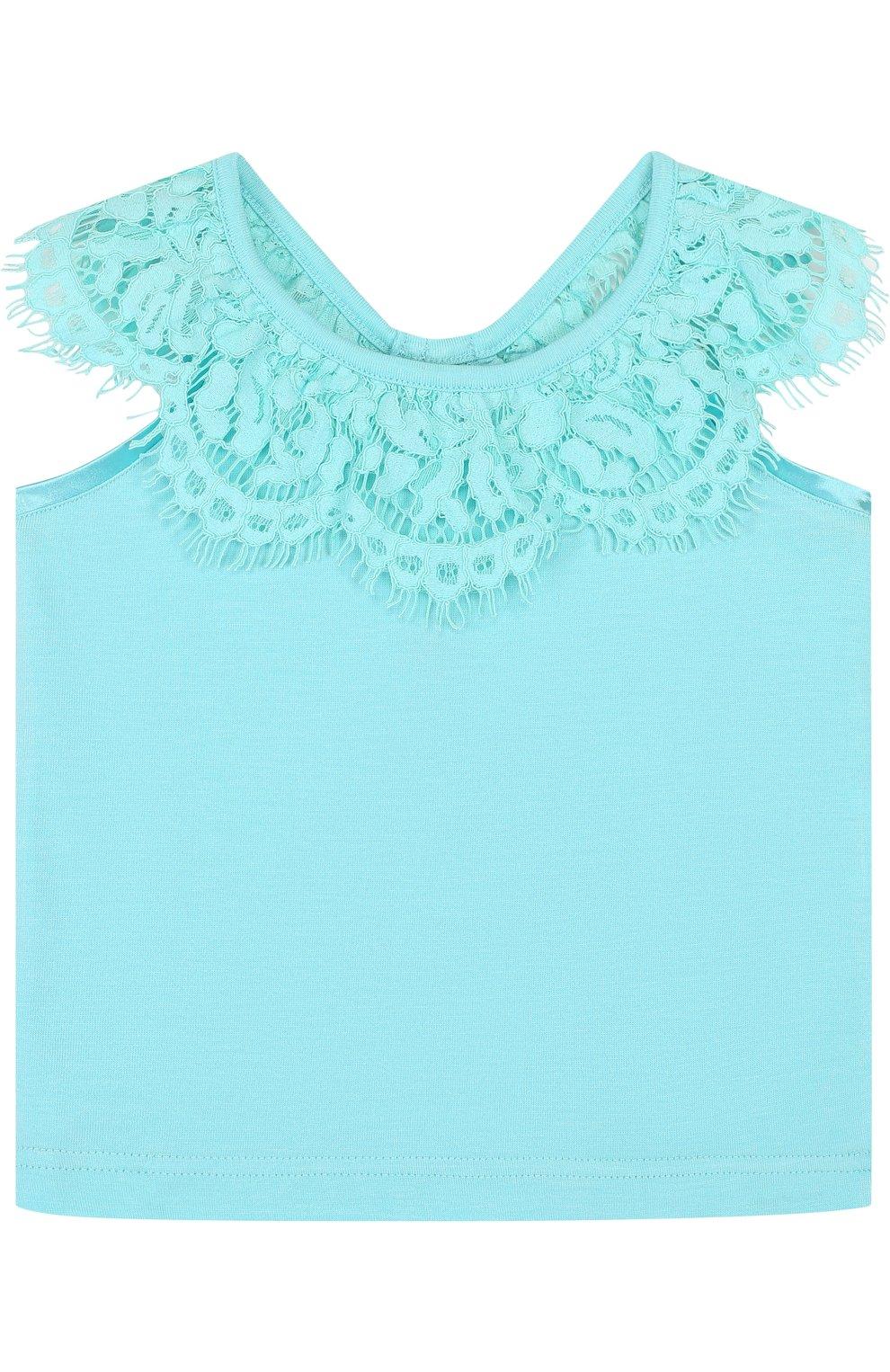 Детский топ джерси с кружевной отделкой и открытыми плечами ANGEL'S FACE голубого цвета, арт. LUCILLE/8-9   Фото 1