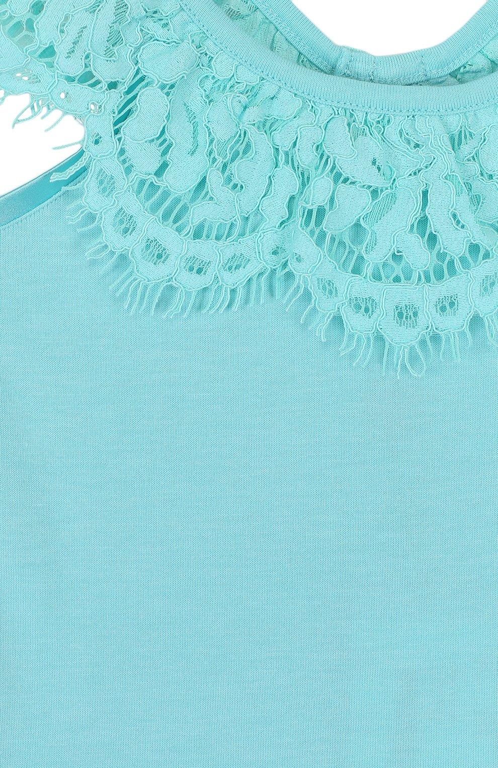 Детский топ джерси с кружевной отделкой и открытыми плечами ANGEL'S FACE голубого цвета, арт. LUCILLE/8-9   Фото 3