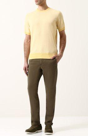Хлопковый джемпер с короткими рукавами Cortigiani желтый | Фото №1