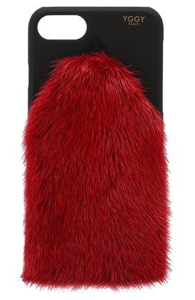 Мужской чехол для iphone 7/8 с отделкой из меха норки YGGY красного цвета, арт. MP18-7 | Фото 1