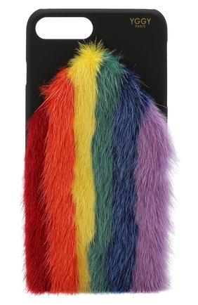Мужской чехол для iphone 7 plus/8 plus с отделкой из меха норки YGGY разноцветного цвета, арт. MS18-7+ | Фото 1