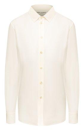 Женская шелковая рубашка SAINT LAURENT белого цвета, арт. 395733/Y100W | Фото 1