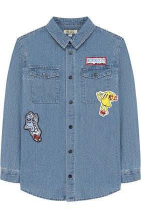 Детская джинсовая рубашка с нашивками KENZO голубого цвета, арт. KL12508/8A-12A | Фото 1