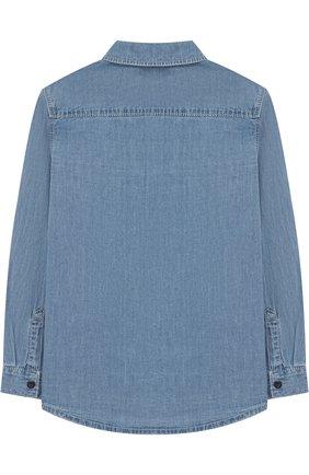 Детская джинсовая рубашка с нашивками KENZO голубого цвета, арт. KL12508/8A-12A | Фото 2