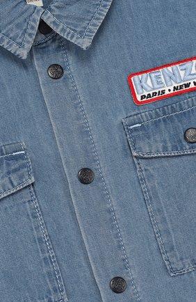 Детская джинсовая рубашка с нашивками KENZO голубого цвета, арт. KL12508/8A-12A | Фото 3