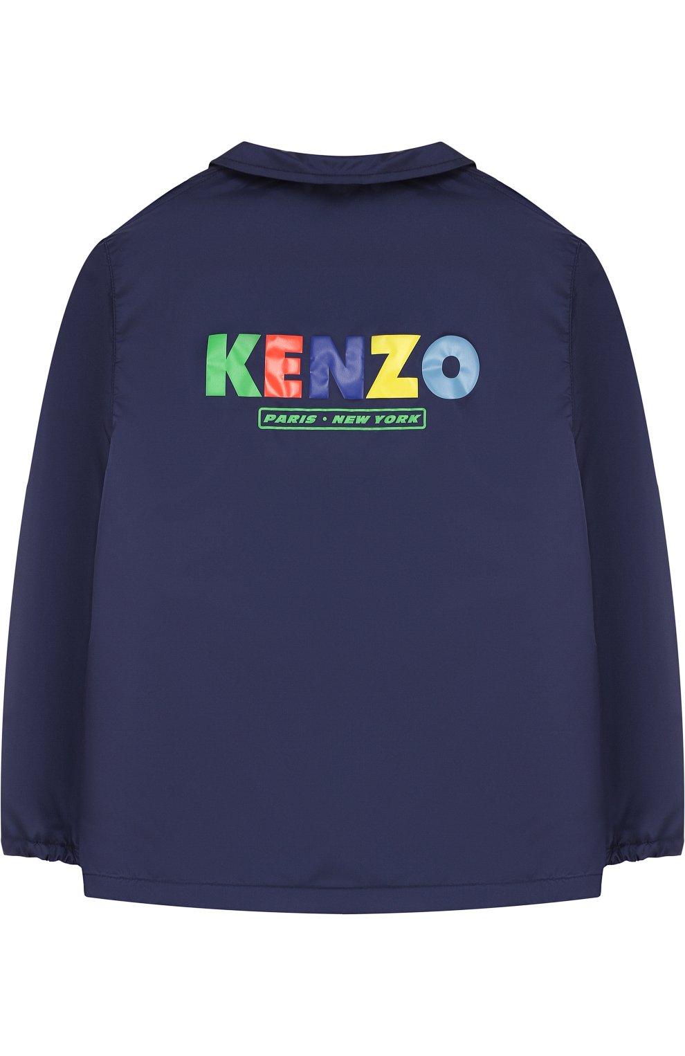 Детского комплект из ветровки и панамы с логотипом бренда KENZO темно-синего цвета, арт. KL42508/8A-12A | Фото 3