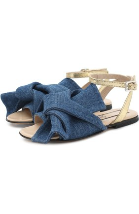 Детские текстильные сандалии с кожаным ремешком и бантом NO. 21 синего цвета, арт. 54606/28-35 | Фото 1