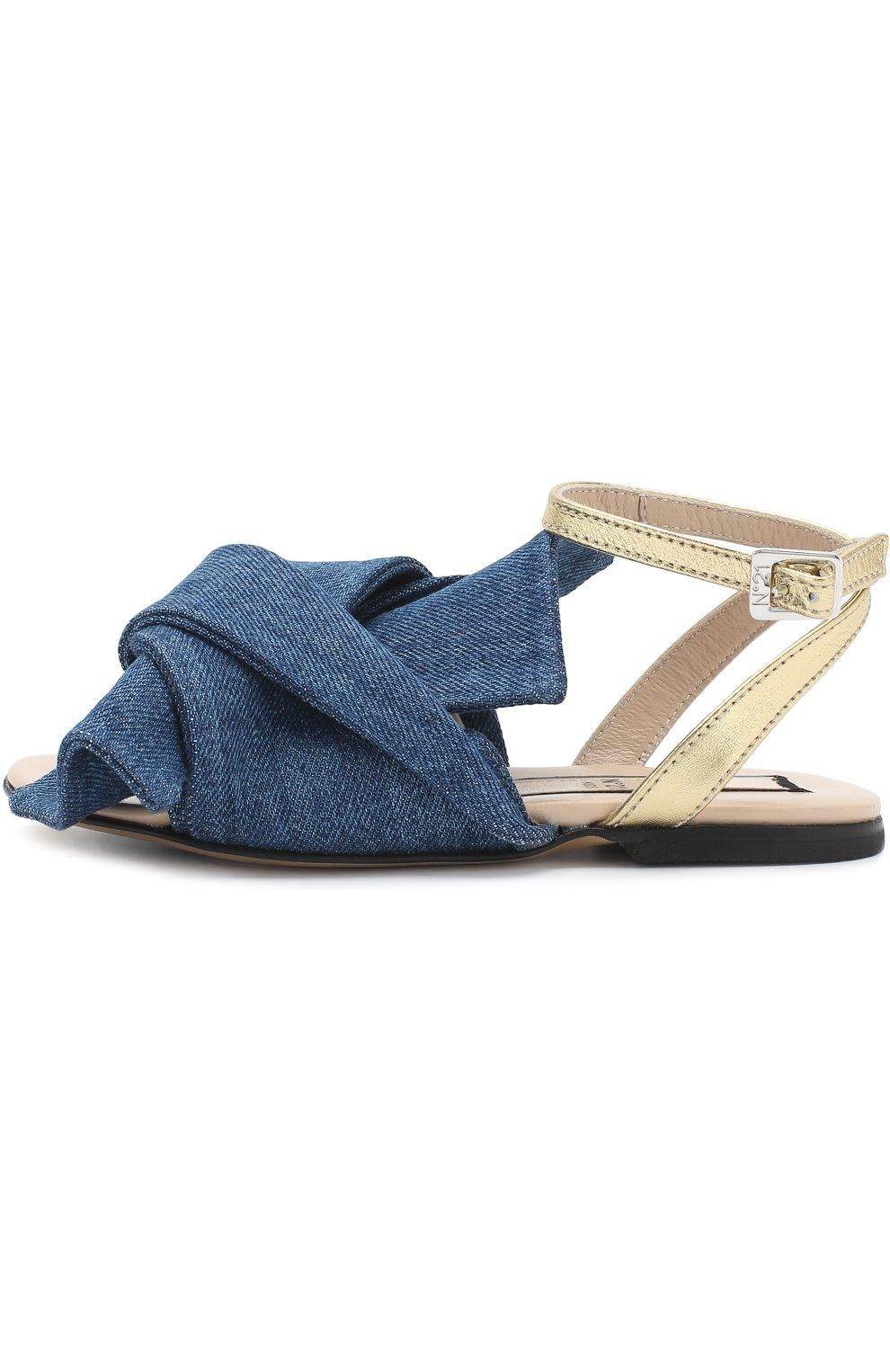 Детские текстильные сандалии с кожаным ремешком и бантом NO. 21 синего цвета, арт. 54606/28-35 | Фото 2